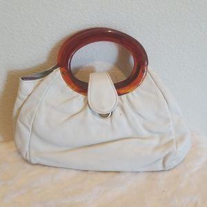 Vintage Leather Handbag Plastic Handles